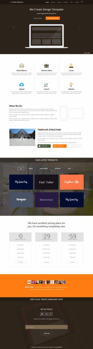 英文单页Web应用响应式网站模板电脑图片