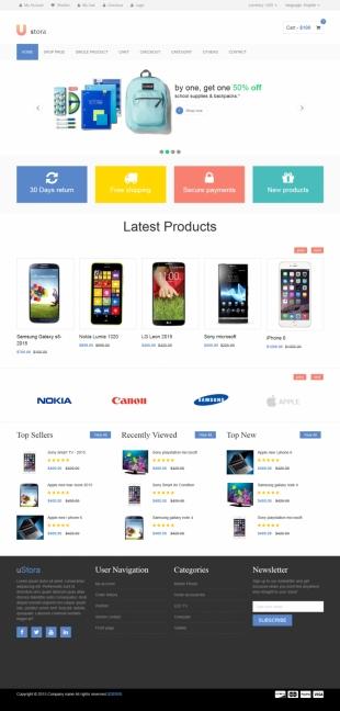 电子产品商城类英文模板网站电脑图片