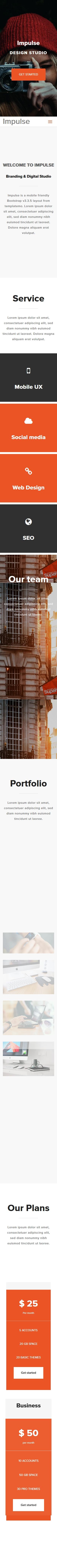 设计工作室类英文网站建设模板手机图片