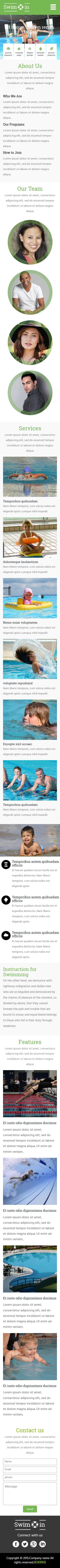 游泳馆类英文模板制作网站手机图片