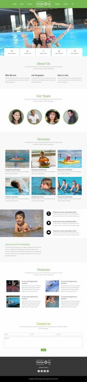 游泳馆类英文模板制作网站电脑图片