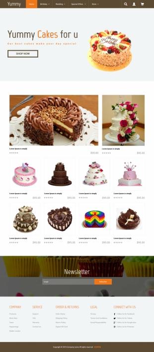 高端蛋糕商场英文模板网站HTML5响应式自适应电脑图片