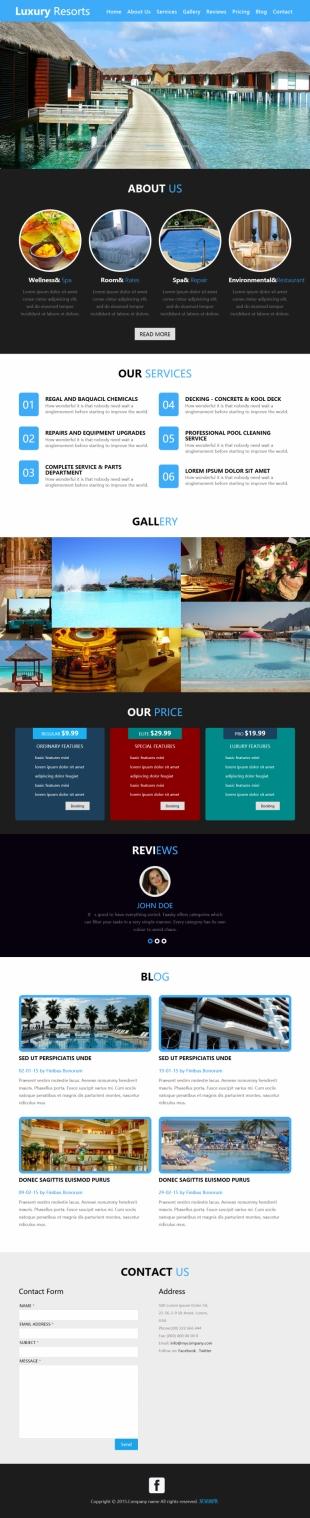 酒店度假类英文网站制作模板电脑图片