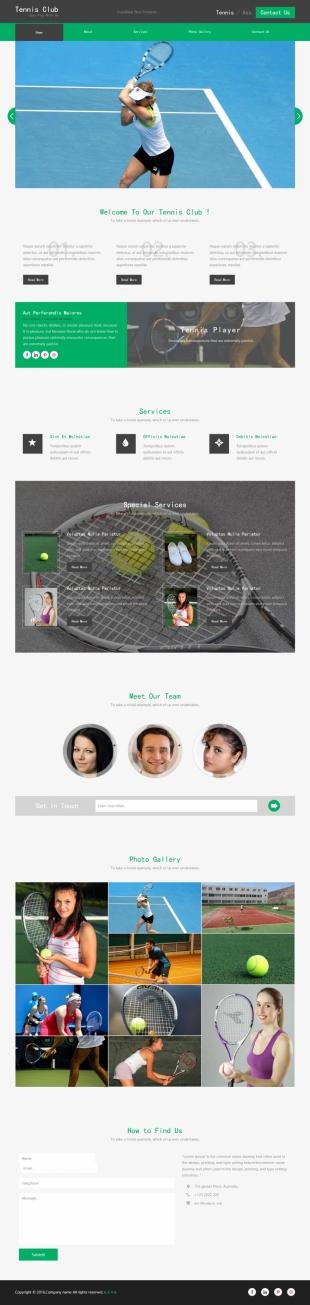 网球俱乐部类英文网站制作模板电脑图片