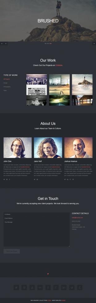 黑色全屏大气平面设计公司官网英文模板网站制作电脑图片