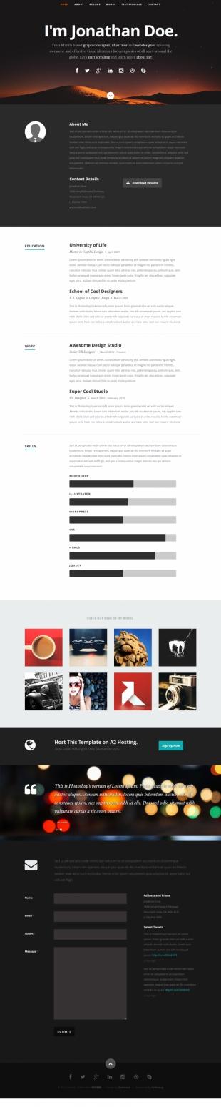 黑色宽屏单页个人简历模版英文模板网站响应式网站电脑图片