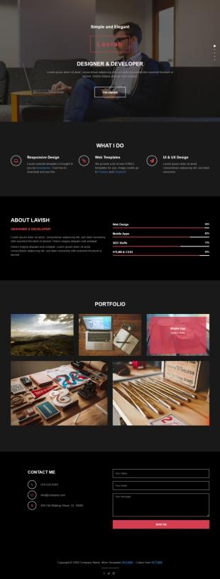黑色css3动画响应式网站设计企业英文网站模板电脑图片