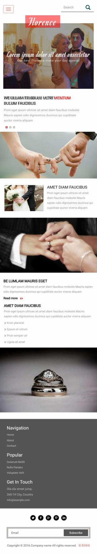 婚礼定制类英文网站制作模板手机图片