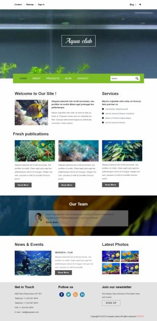 多语言热带鱼类商城英文模板网站电脑图片