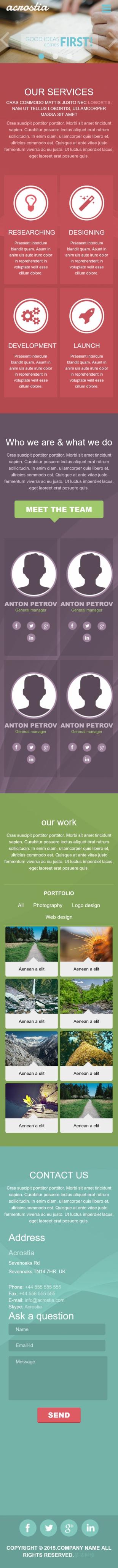 设计类英文模板网站响应式网站手机图片