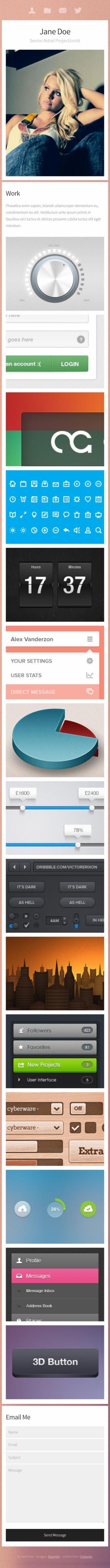 单页个人博客类英文模板网站制作响应式网站手机图片
