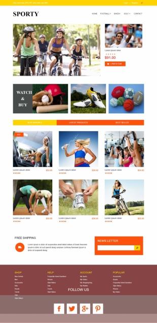 运动用品介绍类英文网站建设模板电脑图片