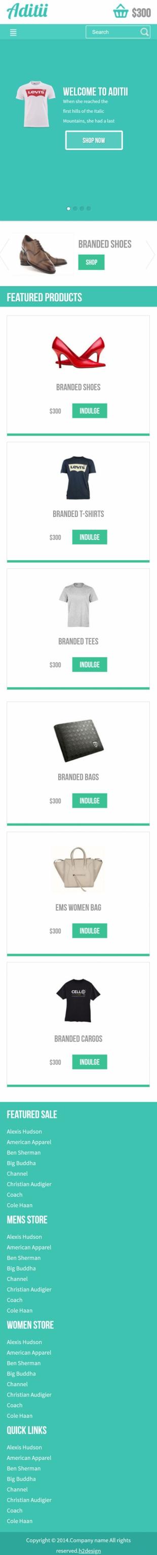 购物商城类英文模板网站HTML5响应式自适应手机图片