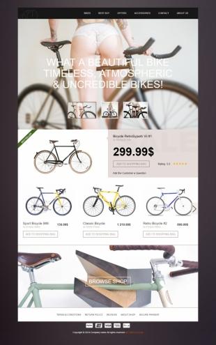 自行车官网类英文网站建设模板 响应式网站 电脑图片