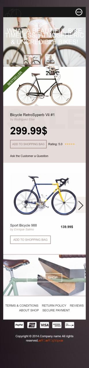 自行车官网类英文网站建设模板 响应式网站 手机图片