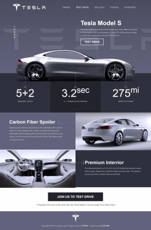 暗蓝大气特斯拉电动汽车品牌官网模板制作电脑图片