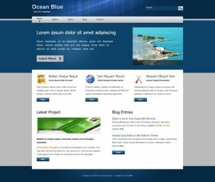 Ocean Blue Template英文网站模板电脑图片