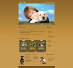 Dog care template英文网站模板电脑图片