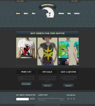 Moonstrosity Custom Shirts Website Template英文网站模板电脑图片