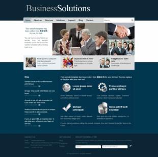 Business Solutions英文网站模板电脑图片