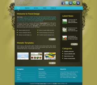 Floral Design英文模板网站电脑图片