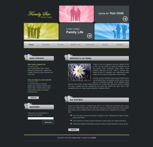 Family Site英文模板网站电脑图片