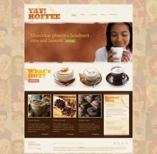 插画背景拿铁咖啡企业英文网站建设模板电脑图片