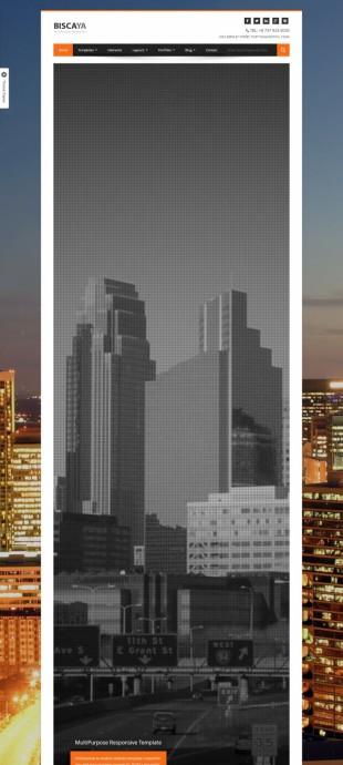 城市建筑扁平化设计商务英文网站建设模板电脑图片