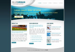 城市印象商务风格HTML英文网站建设模板电脑图片
