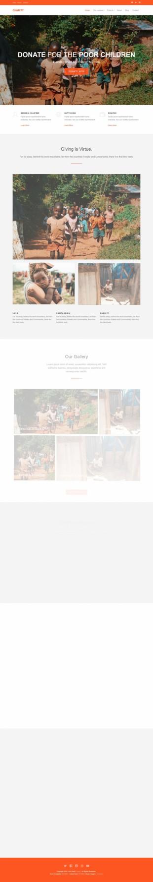 橙色大气儿童公益组织英文网站建设模板电脑图片