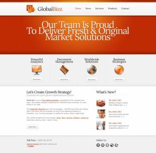 橙色大气商业金融机构企业英文网站建设模板电脑图片