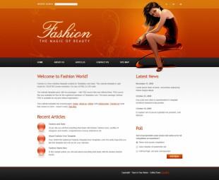 橙色花纹背景性感少女交友企业英文网站建设模板电脑图片