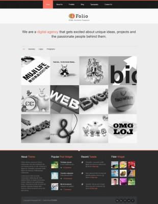橙色简洁扁平化设计响应式html5英文网站建设模板电脑图片