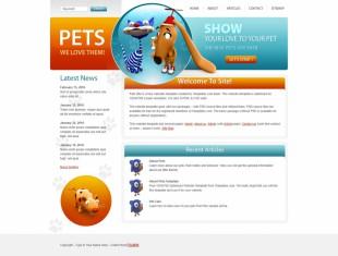 橙色可爱个性宠物狗CSS英文网站建设模板电脑图片