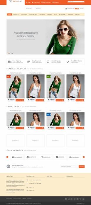 橙色响应式服装网购商城英文网站建设模板电脑图片