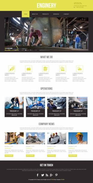 纯色宽屏汽车汽配工业自适应整站英文网站建设模板电脑图片