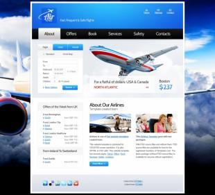 大气蓝色航空公司html5英文网站整站模板建设电脑图片