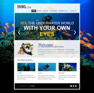 大气漂亮蓝色海洋动物乐园英文企业网站模板制作电脑图片