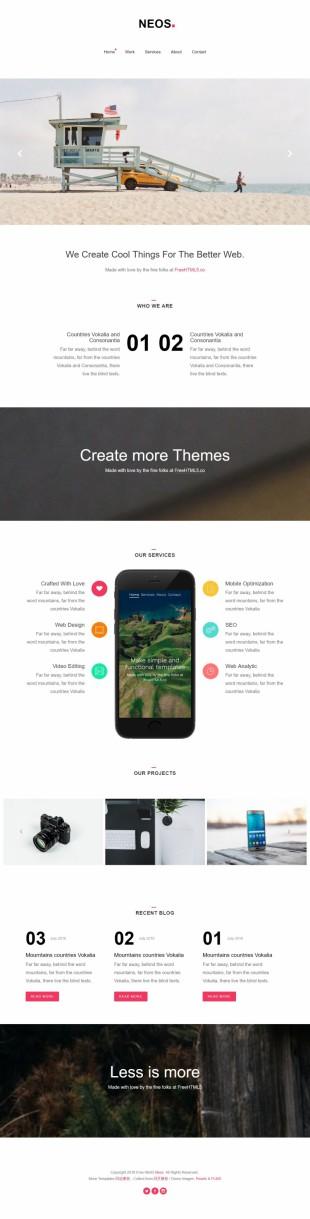 大图幻灯极简UI设计师官网英文响应式网站模板制作电脑图片