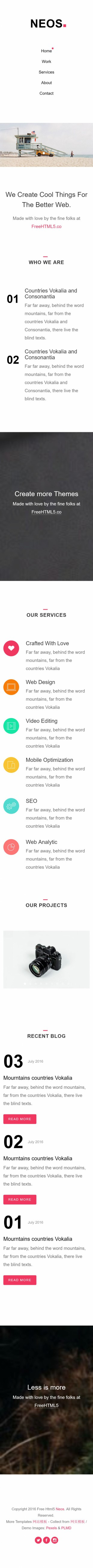 大图幻灯极简UI设计师官网英文响应式网站模板制作手机图片