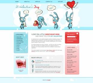 淡蓝色可爱卡通兔礼品企业英文网站模板制作电脑图片