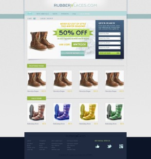 淡绿色鞋子商城网店英文网页模板制作电脑图片