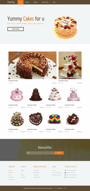 蛋糕网店在线英文商城网站模板制作电脑图片