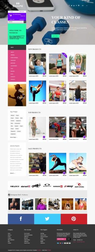 多彩扁平化大气运动健身商城英文网站整站模板电脑图片