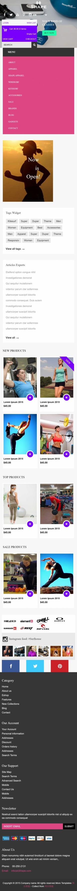 多彩扁平化大气运动健身商城英文网站整站模板手机图片
