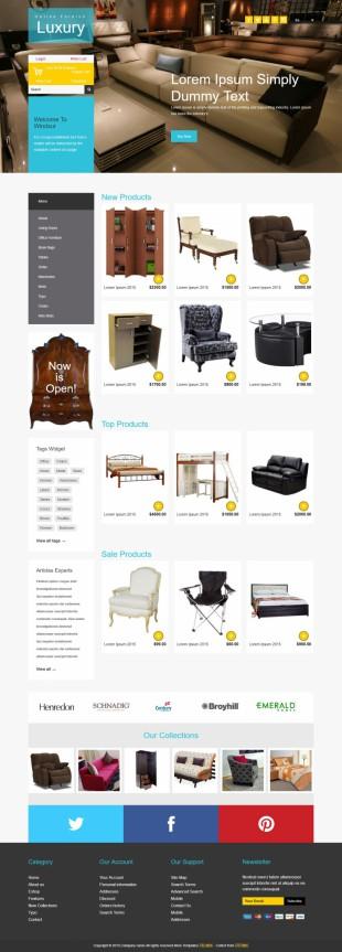 多彩扁平设计大气家纺家居商城英文网站模板电脑图片
