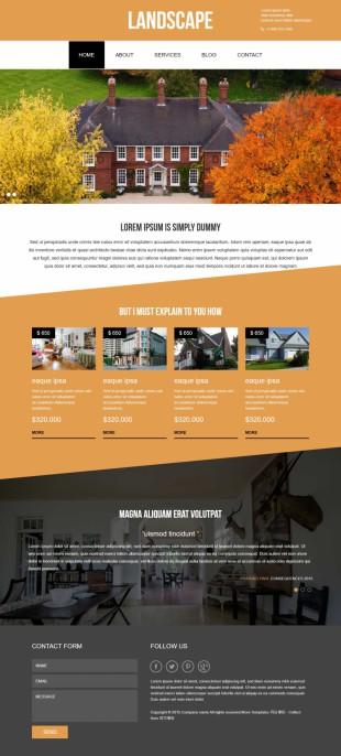 二手房地产中介推广专题英文网页模板电脑图片