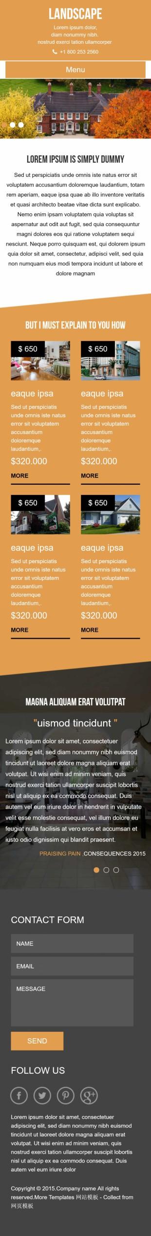 二手房地产中介推广专题英文网页模板手机图片