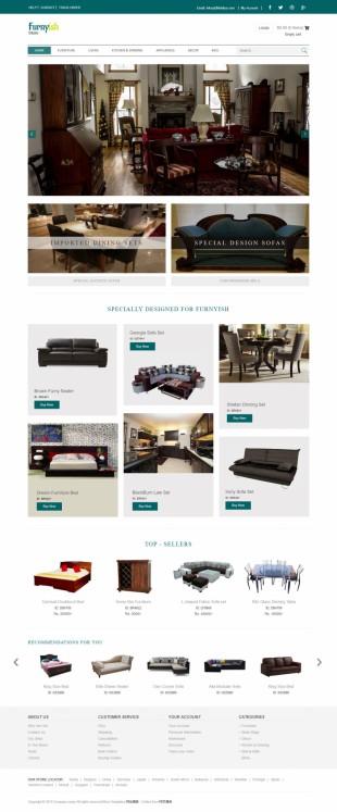 仿ios设计实木家俱电商商城英文网站整站模板电脑图片