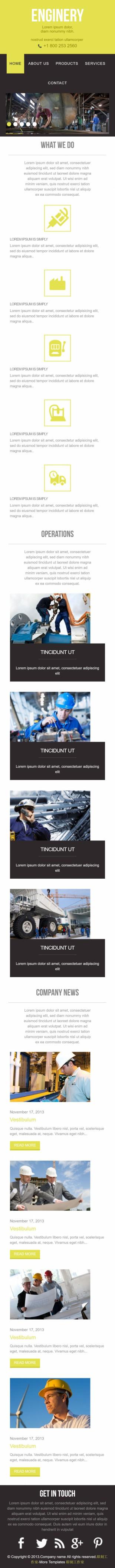 工业机械建造类英文网站模板制作手机图片
